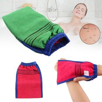 1 unidad de exfoliador de Spa de ducha de Color aleatorio guante de baño de dos lados exfoliación de limpieza corporal Mitt frotar piel muerta productos de baño