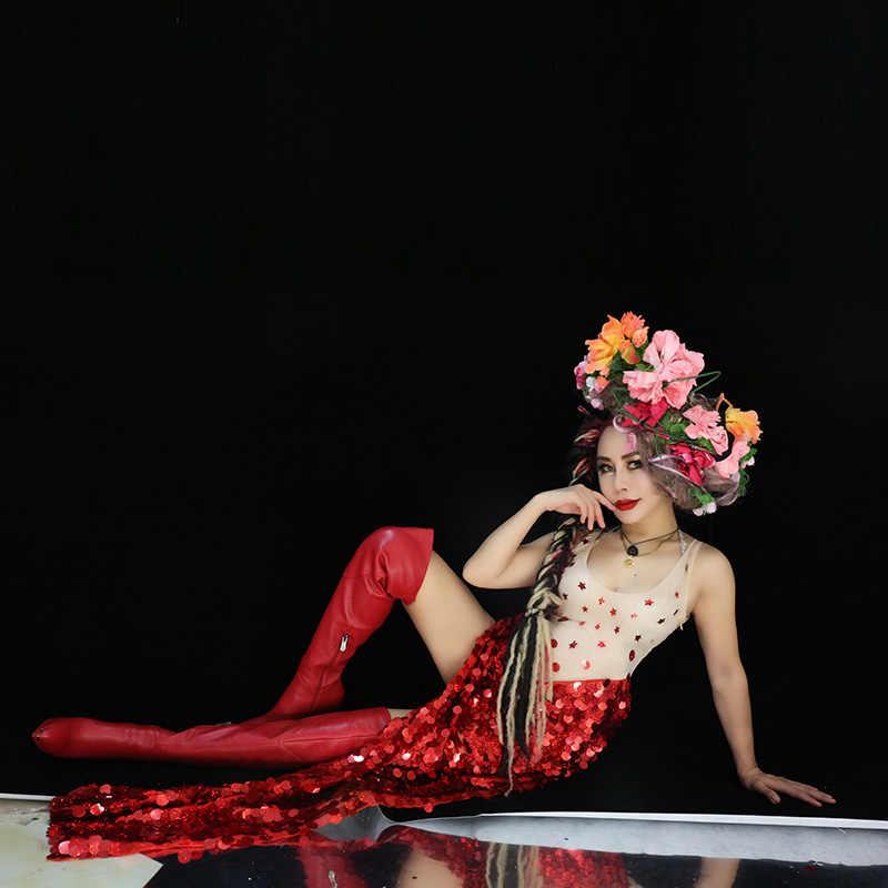 2019 sommer Frauen Neue Rot Pailletten Schlitz Oberschenkel Body Sexy DJ Sänger Bar Dance Kostüm Party Zeigen Prom Ein stück Bühne Tragen