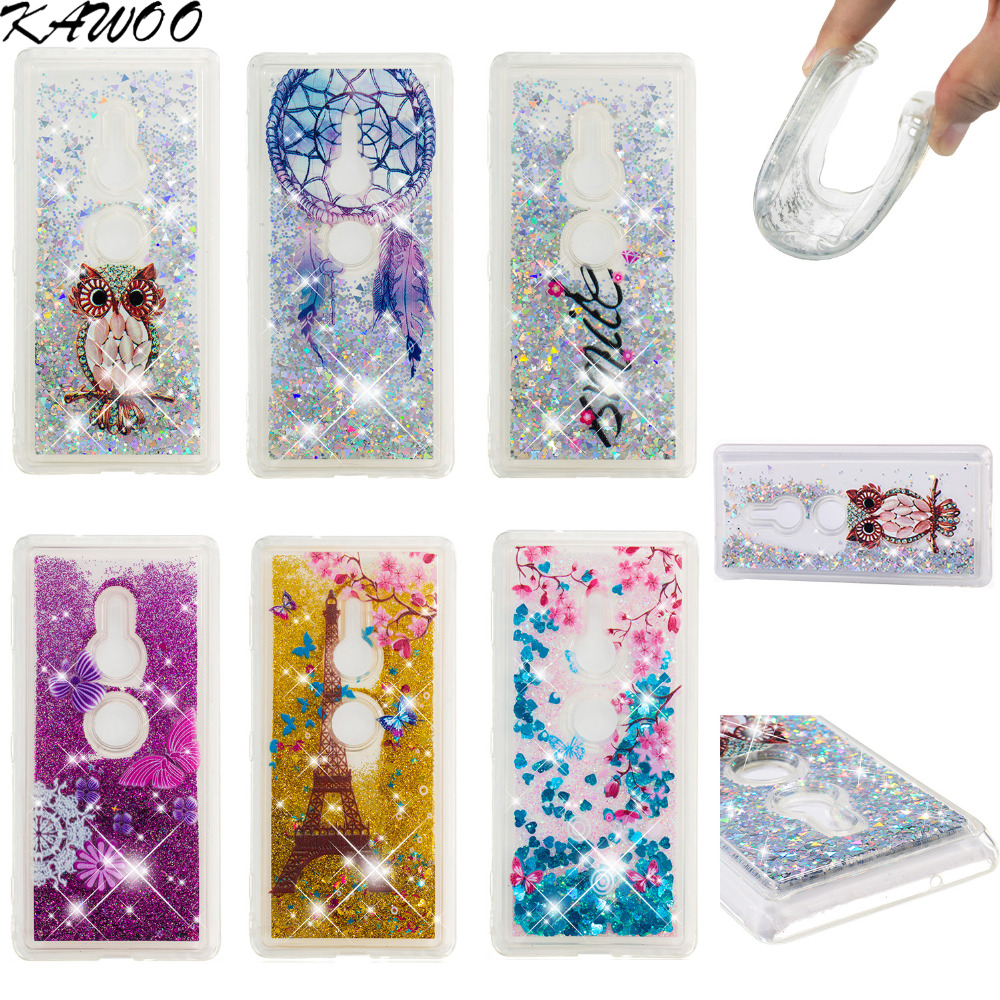 Amile Plum Flower Patterned Liquid Bling Quicksand Soft Case For Sony Xperia XZ2 XZ2 Compact Clear Silicone Capa For Sony Xperia