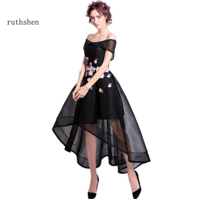Ruthshen High Low Black Prom Dresses 2018 Off Shoulder Short Front