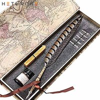 Hethrone Quill Antique Pure Copper Writing Calligrap Feather Pen Set Vintage Birthday gift ink Pen Dip pen Fountain Pen