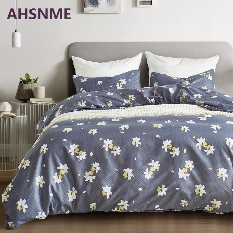 Ahsnme Simple White Lily Grey Bedding Set American Size Suitable