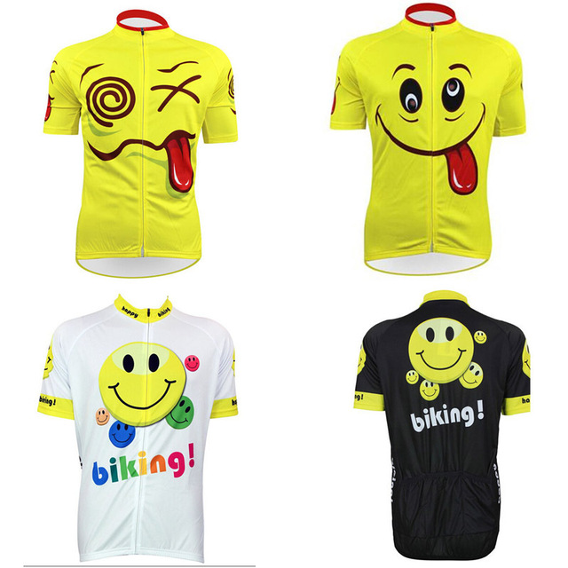 0b2f74541 2016 men funny face smile bike jersey black cycle clothing yellow cycling  jersey lover s novelty white bike shirt gear