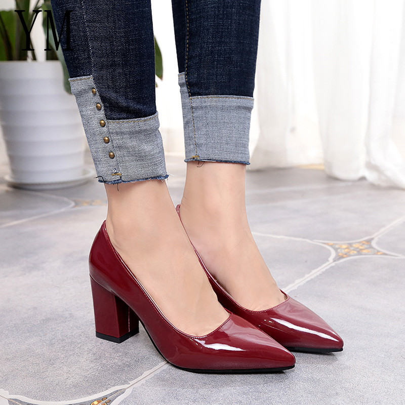 2018 New Women Pumps Black High heels 7.5cm Lady Patent leather Thick with Autumn Pointed Single Shoes Female Sandals Big 33-43 luxury brand crystal patent leather sandals women high heels thick heel women shoes with heels wedding shoes ladies silver pumps