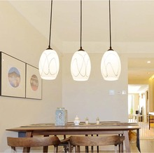BOKT Milk white glass industrial lamp Kitchen Island pendant light Fixture 3 Lights For Living Room Bedroom Dining