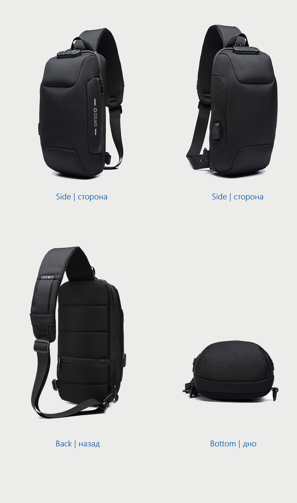 OZUKO 2019 New Multifunction Crossbody Bag for Men Anti-theft Shoulder Messenger Bags Male Waterproof Short Trip Chest Bag Pack 12