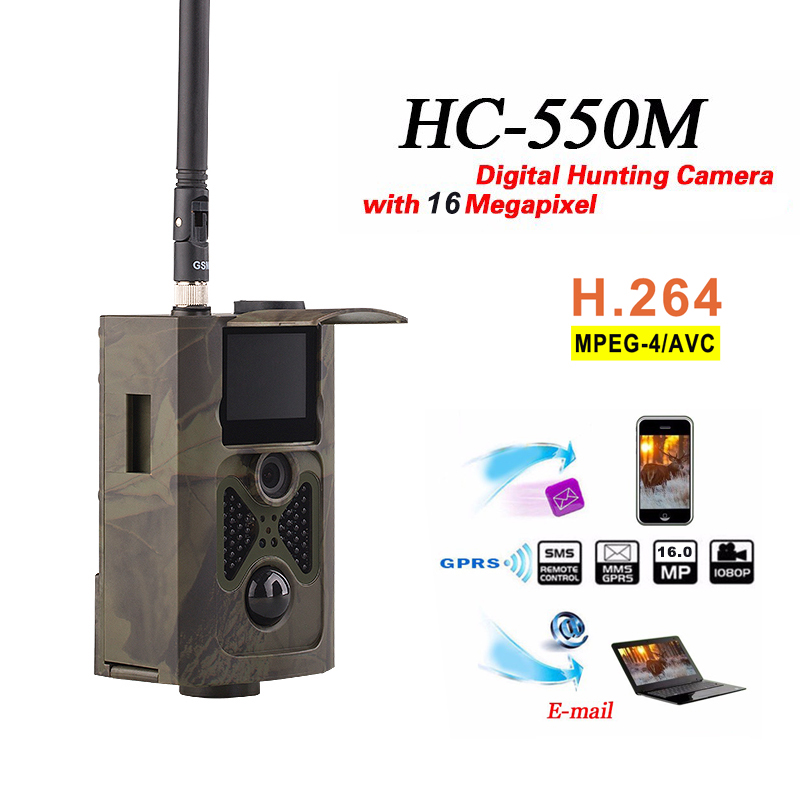 SMTP 2G MMS SMS 16MP Trail Camera Cellular Infrared Night Vision Hunting Camera HC550M Wireless Photo Traps Surveillance