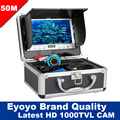 "Free Shipping! Eyoyo 50M HD 1000TVL Underwater Fishing Camera Fish Finder 7""Monitor With Sun shield Sunvisor 12Pcs White LED"