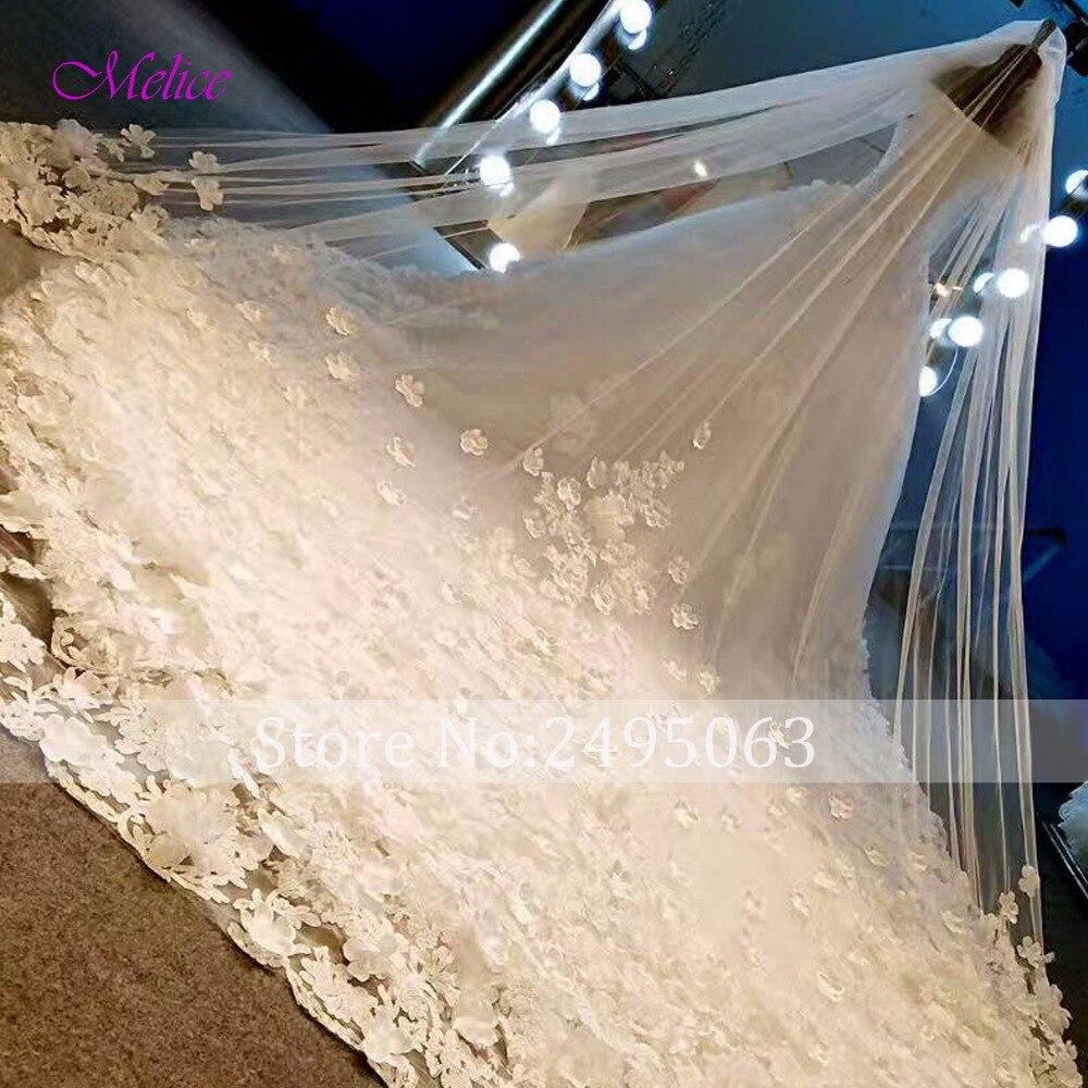 Melice вырез лодочкой кружева бисерные цветы А-силуэт Свадебные платья 2019 Великолепные Аппликации Часовня Поезд свадебное платье Vestido de Noiva