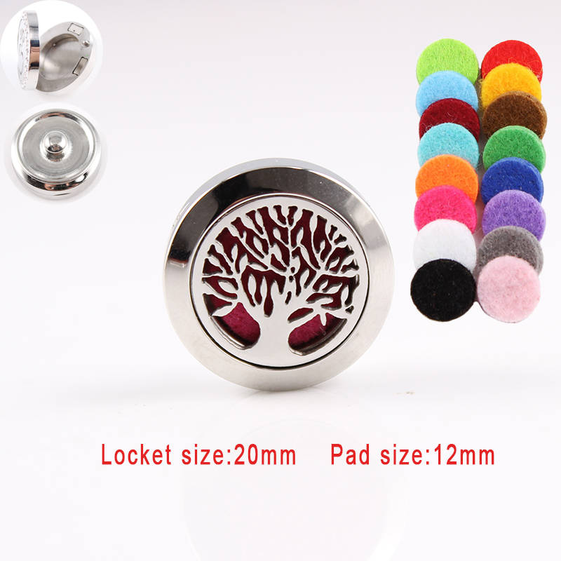 Wholesale 20mm magnetic silver 316L stainless steel Tree essential oil perfume diffuser locket Snap Button Jewelry Fit 18mm Snap wholesale boom life 2017 new bookmarks snap button jewelry fit 18mm 20mm snaps 7273