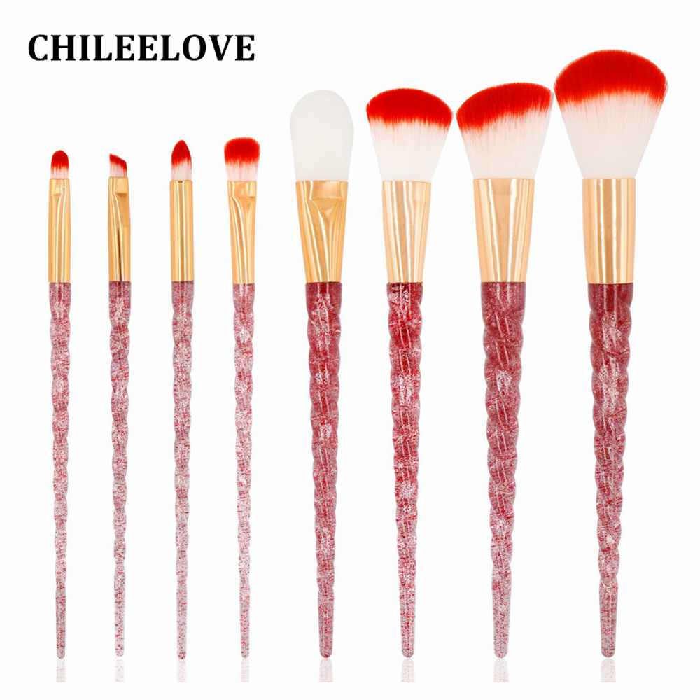 CHILEELOVE 10 Pcs Crystal Screw Thread Handle Makeup Brushes Kit Beauty Cosmetic Tool For Women Girl Make Up