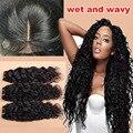 Дешевые 4x4 Перуанский Волна Воды Шелковый База Закрытие С Пучками 7А перуанский Девственные Волосы Шелк База Закрытие Бесплатный Средний 3 Часть