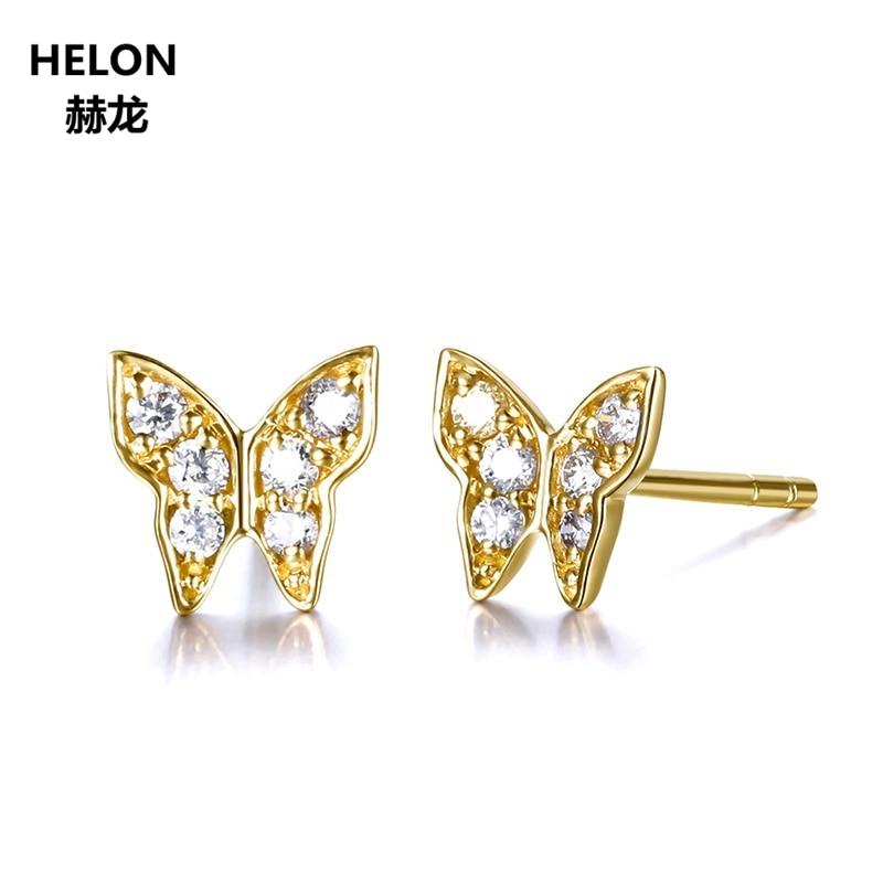 SI/H unique Cut 100% boucles d'oreilles en diamant naturel pour les femmes solide 14 k or jaune boucles d'oreilles à la mode fête bijoux fins cadeau-in Boucles d'oreilles from Bijoux et Accessoires    1