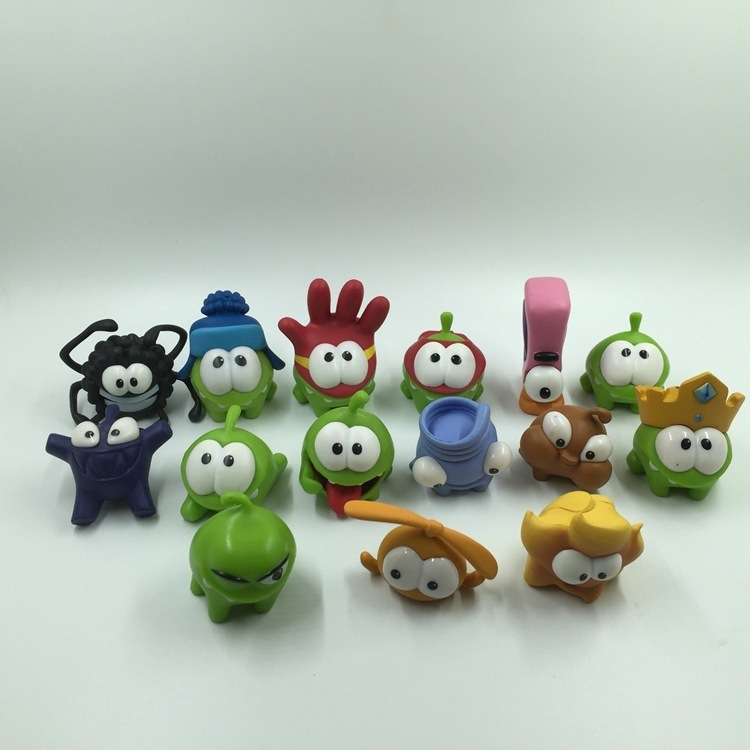 Random 10pc Different Rope Frog Game Doll Cut The Rope OM NOM Candy Gulping Monster Toys Action Figure Toy For Kid Birthday Gift