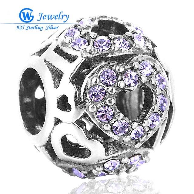 GW Fine Jewelry Wedding Austrian Crystal Purple 925 Sterling Silver Charm European Body Jewellery X095H10