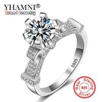 YHAMNI Đồ Trang Sức Thời Trang Nguyên Chất Rắn Bạc/Màu Hồng Vàng Nhẫn Độc Đáo Thiết Kế cốc Paved 5A CZ Zircon Jewelry Nhẫn cho Phụ Nữ R005
