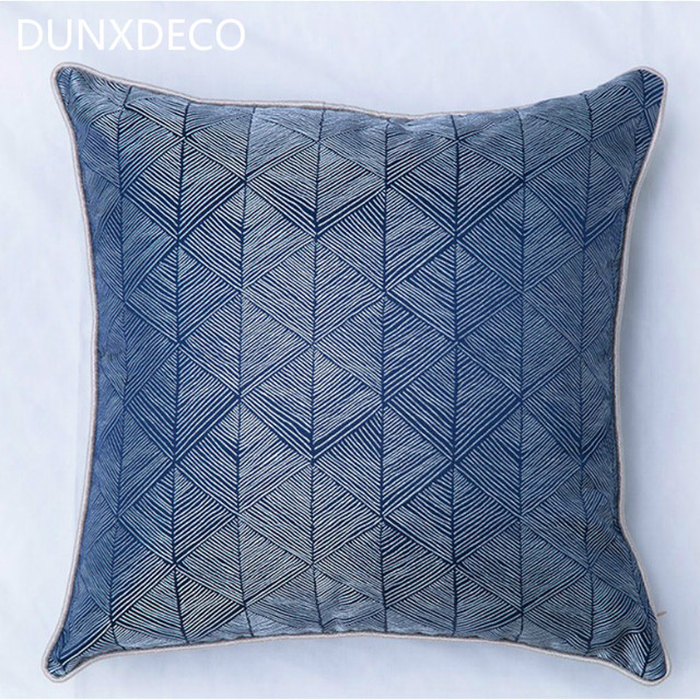 DUNXDECO Cushion Cover Blue Decorative Pillow Case Modern Artistic Amazing Blue Decorative Pillows Modern