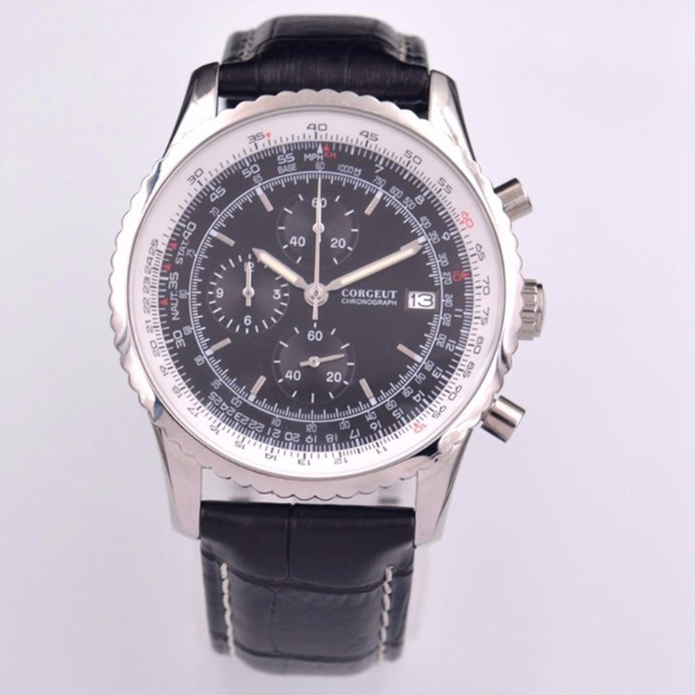 Quartz Watch Corgeut Chronograph Mens Watches Top Brand Luxury Male Clock Fashion Leather Wrist Watch Date Relogio Masculino
