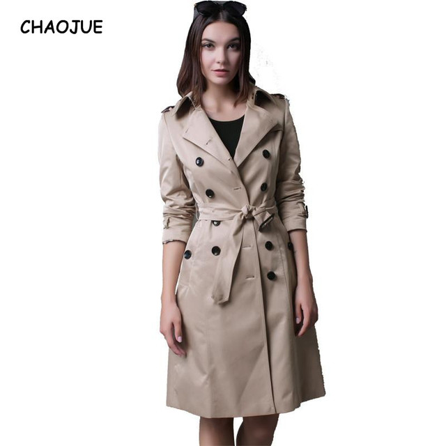 CHAOJUE Brand Italy Brand Long Windbreaker Female Double-breasted High Quality Peacoat Womens Burgundy Coat Trench Free Shipping