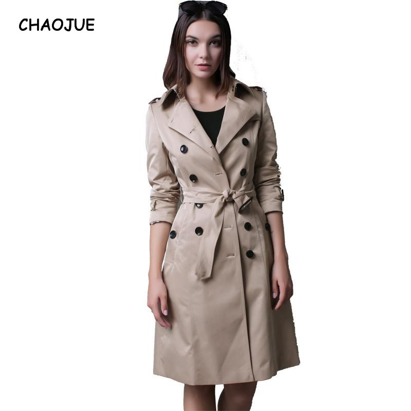 CHAOJUE Brand Italy Brand Long Windbreaker Female Double-breasted High Quality Peacoat W ...