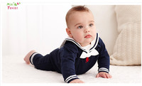 New 2015 Summer Baby Boys Long Sleeve Cotton Jumpers Fashion Navy Style Infant Sport Rompers Kids