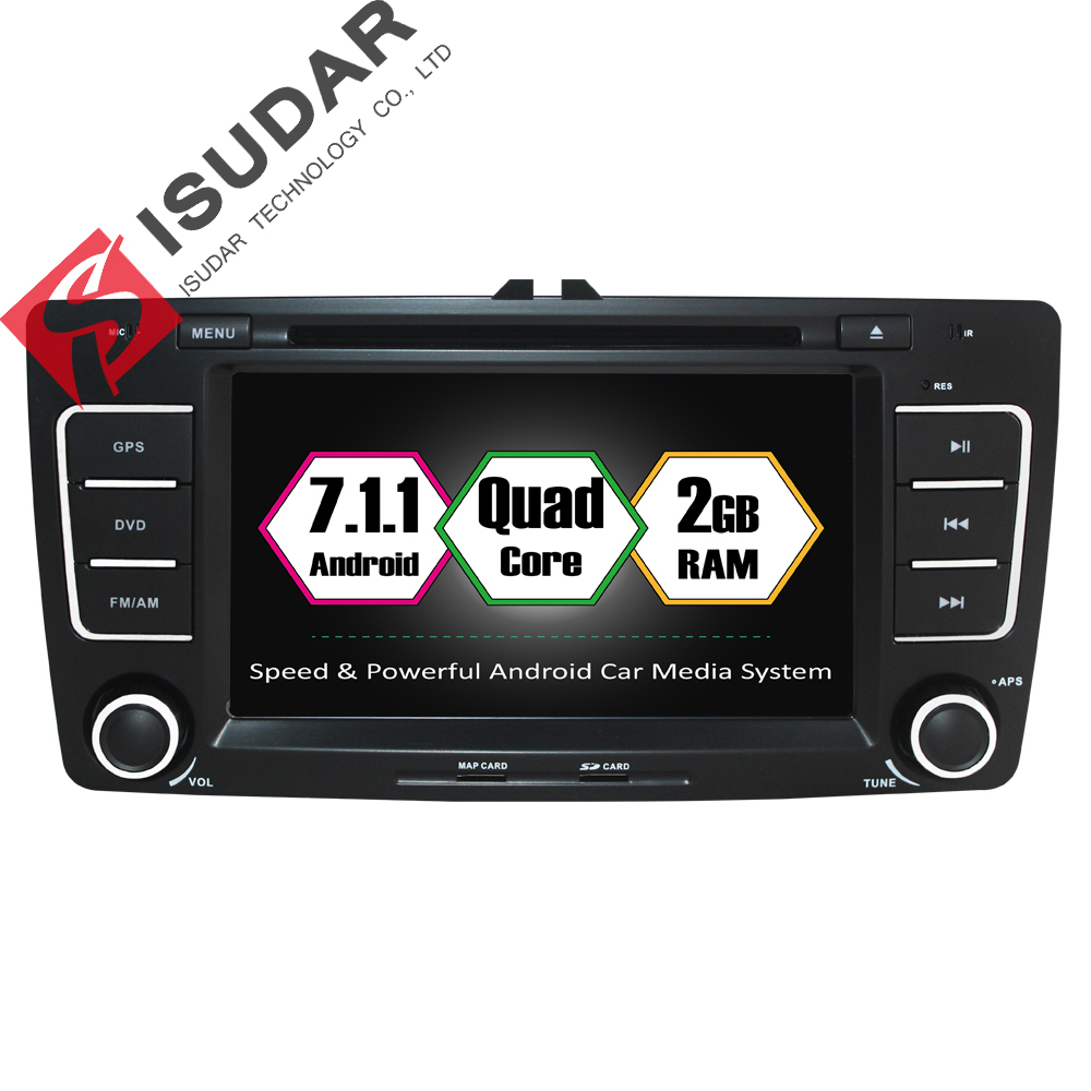 Isudar Car Multimedia player Android 7.1.1 2 Din DVD Automotivo For SKODA/Octavia 2009-2013 GPS 4 Core RAM 2GB ROM 16GB FM Radio isudar car multimedia player automotivo gps autoradio 2 din for skoda octavia fabia rapid yeti superb vw seat car dvd player