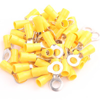 12 10 AWG Yellow RV5 6 Electrical Ring Vinyl Pre Insulated Terminals Brass For 50pcs Crimp