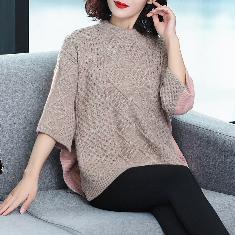 New design women's fashion arygle pattern loose sweater autumn winter ladies irregular side split sweater half sleeve