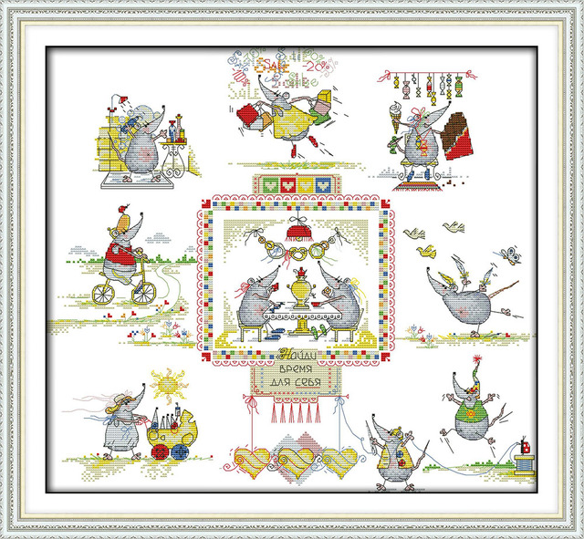 The Mices Wedding 11CT 14CT Counted Cross Stitch Pattern Beauty Kits For Embroidery Needlework