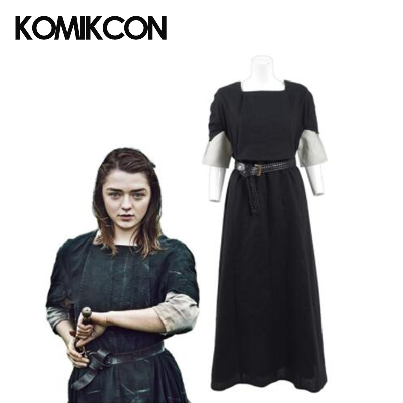 Game of Thrones Arya Stark Cosplay Costume For Women Black Long Dress Abbey Outfit Halloween Christmas Party Shirt Dresses Suits