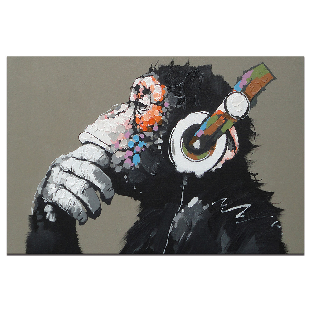 Large 1 Pcs Animal Monkey Canvas Printed Painting Modern Funny Thinking  Monkey with Headphone Wall ArtCompare Prices on Large Canvas Painting  Online Shopping Buy Low  . Cost To Paint A Large Living Room. Home Design Ideas