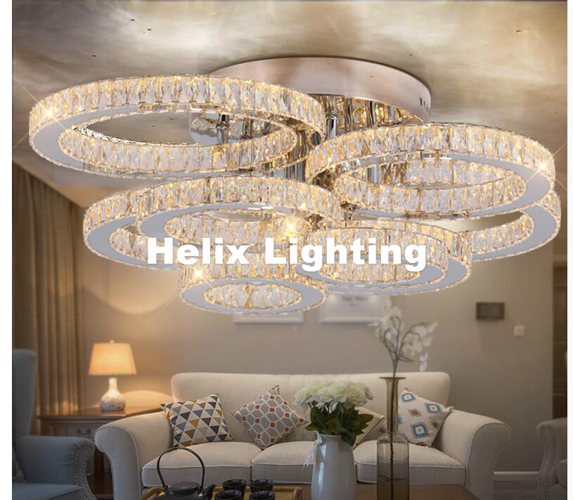European Modern LED Crystal Ceiling Light Fixture Modern K9 Crystal l LED Ceiling Lighting Lamp Flush Mount AC Guaranteed 100% zx modern k9 crystal chandelier arched rectangle ceiling lamp led fixture lighting bar light crystal restaurant curtain lights