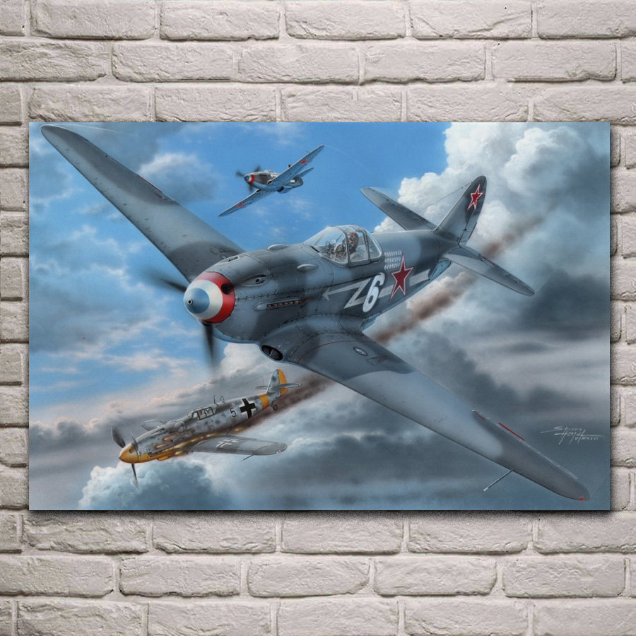 Yak 3 fighter air battle monoplane fighter classic aircraft plane living room home wall art decor wood frame fabric poster MC645