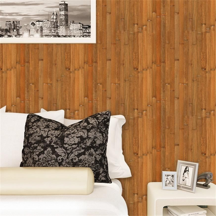 1 PC Wall Stickers 40 * 300cm 3D Wall Paper Brick wodeen Effect Self-adhesive Wall Sticker Room Decor Drop Shipping 2018m1