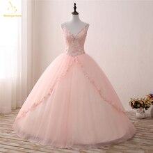 Bealegantom New Real Photo V neck Quinceanera Dresses 2019 Ball Gown A Sweet 16 Dress Vestidos De 15 Anos QA1304