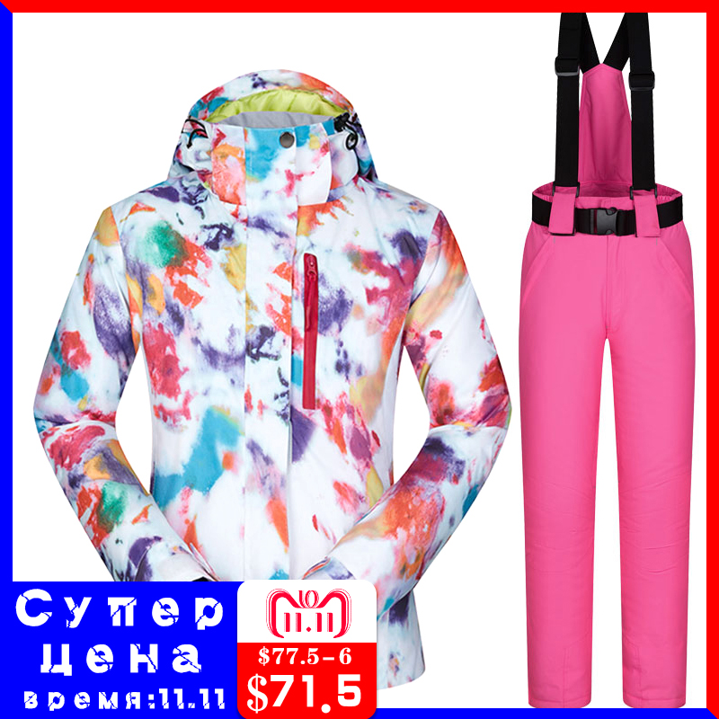 все цены на Women Ski Suits Brands 2018 Windproof Waterproof Breathable Warm MHSJ Ski Jacket And Pants Winter Skiing And Snowboarding Suits онлайн