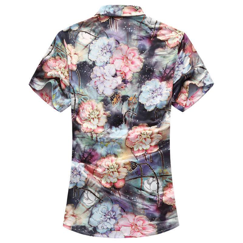 Новый Гавайский Для мужчин рубашка большого размера 7XL 2018 летние шорты рукавом плюс Размеры цветы узкое, с цветочным принтом Fit Повседневное пляжная одежда рубашки