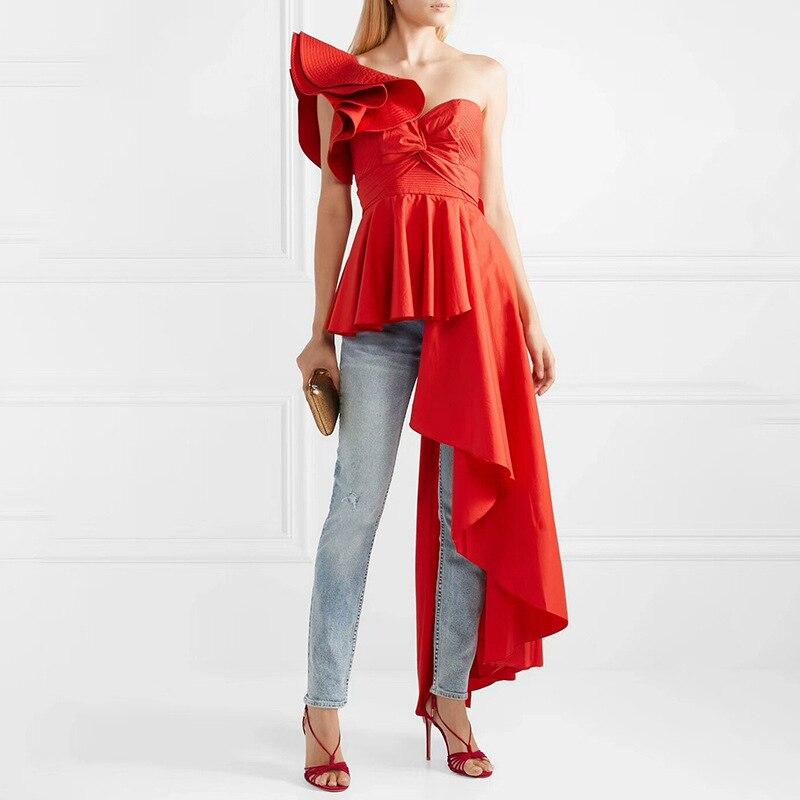 2019 Designer piste Blouse auto Portrait volants irrégulière Sexy femmes chemise mode été rouge blanc hauts noirs Befree femme