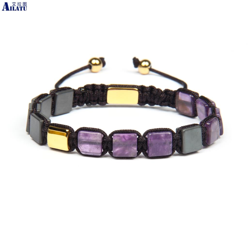 Ailatu New Design Natural Amethys Square Flatbed Macrame Bracelet Stainless Steel Top Quality