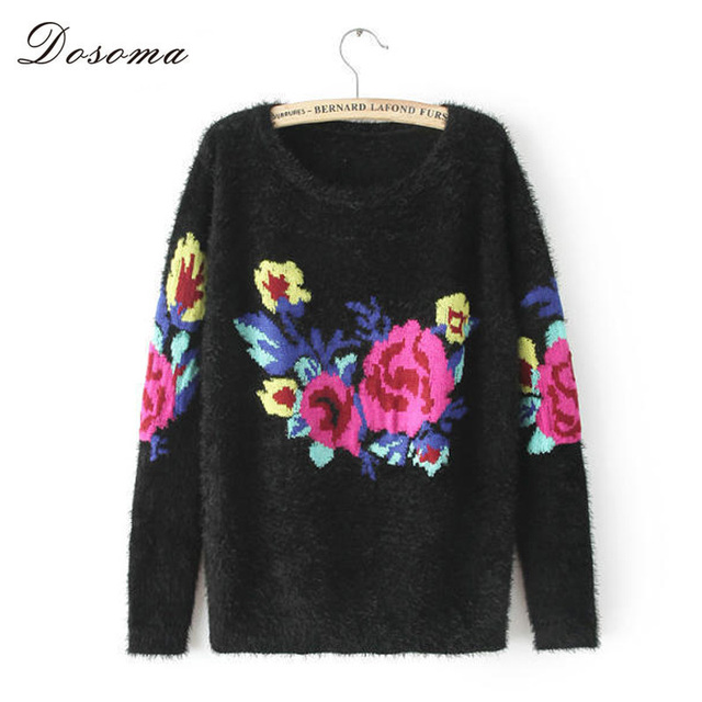 rose embroidery vintage sweater 2016 autumn/winter sweater women knitted pullover mohair sweater sexy casual women sweater