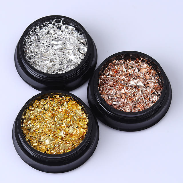 1 Box 3D Nail Art Rivets Studs Star Round Silver Metal Shell Manicure DIY Nail Art Decoration for UV Gel Nail Polish