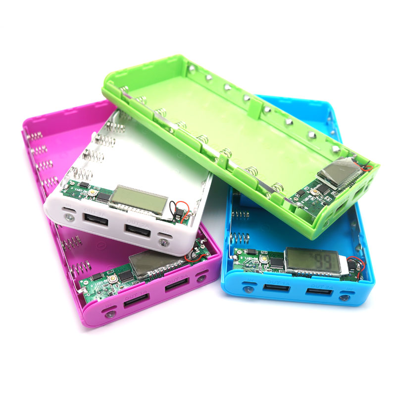 Power bank 18650 battery case box diy capacity led voltage current display powerbank charger for iphone