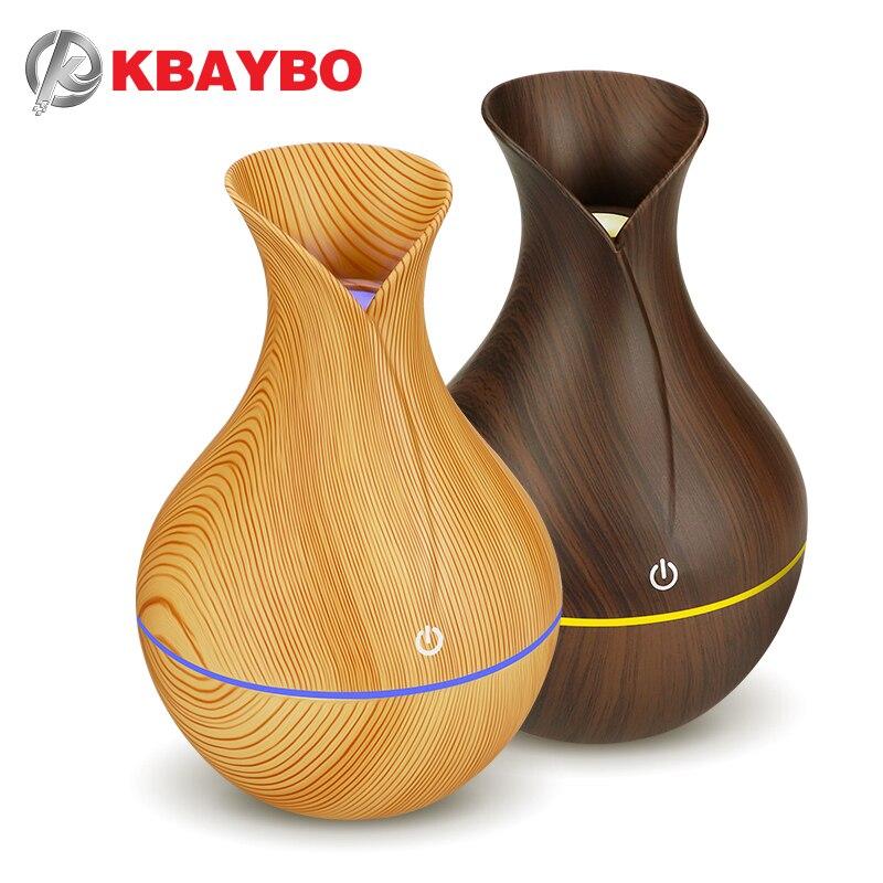 KBAYBO eléctrico humidificador aroma difusor del aceite del ultrasónico de grano de madera de aire humidificador USB mini fabricante de la niebla luz LED para el hogar Oficina