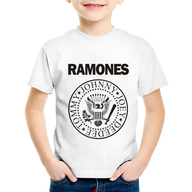 a366211f3217 Children Fashion Print Ramones Logo T shirts Kids Cool Summer Short ...