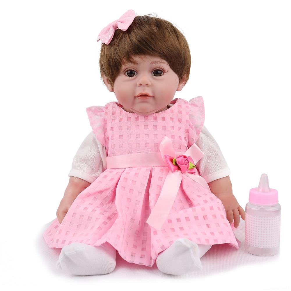 Npk Doll Reborn Baby Lifelike Newborn Girl Babe Boneca Lovely Pink Princess Realistic Christmas Gift Soft Silicone 22 Inch Kids Dolls & Stuffed Toys