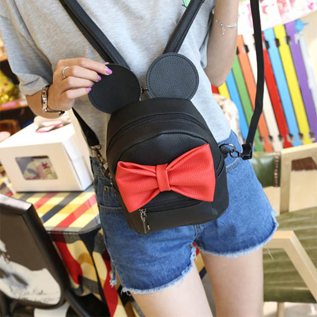 FLYING BIRDS small bag mini women backpack cute bow female Korean style  Mickey ear school bags 70b82ec66ec99