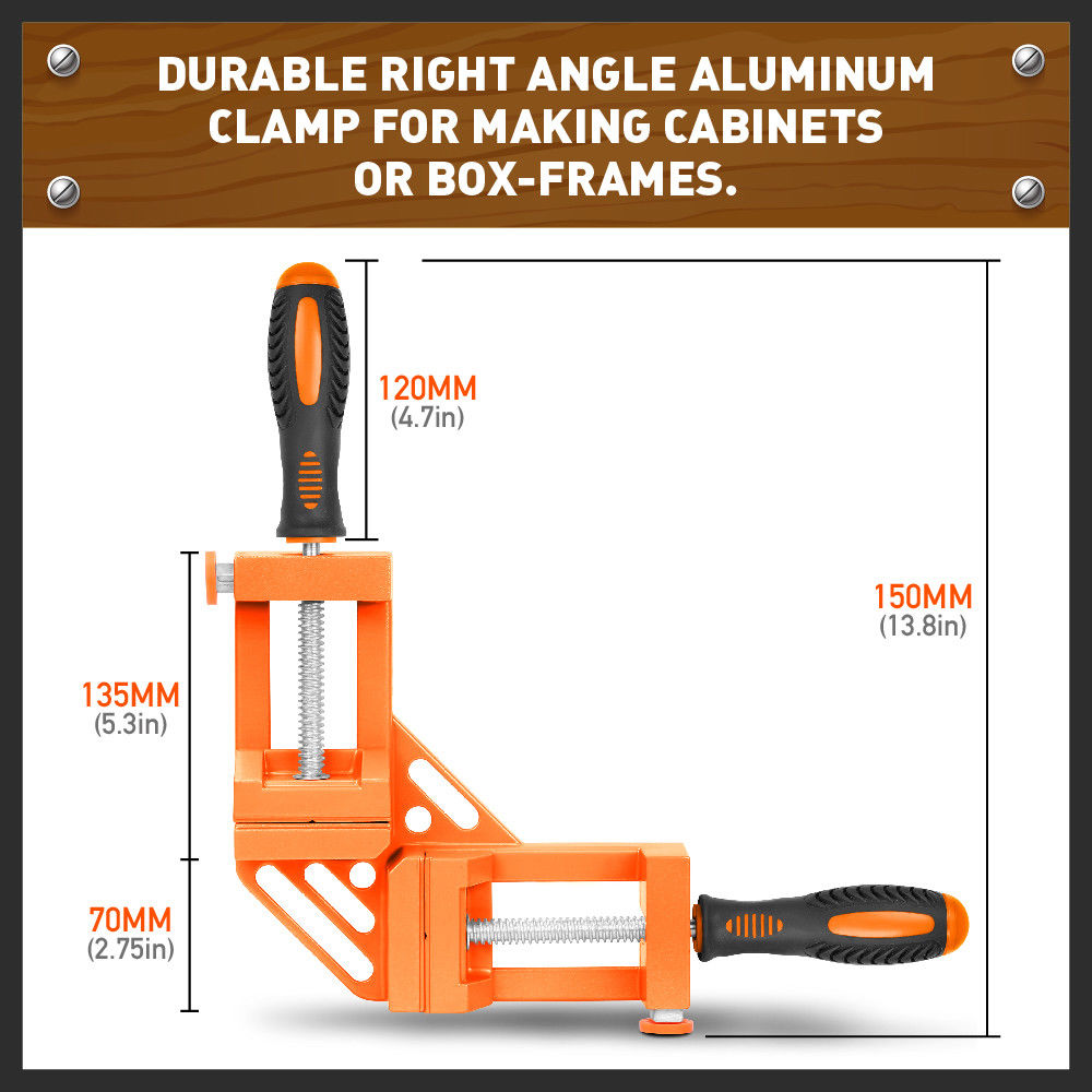 HORUSDY 90 Degree Right Angle Clamp Mitre Clamps Corner Holder Welding Wood Working Aluminum Alloy Right Angle Corner Clamp Tool in Drill Bits from Tools