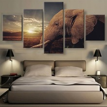5 Pieces HD Printed Large Sunset Elephants Animal Cuadros Landscape Canvas Wall Art Home Decor For Living Room Painting