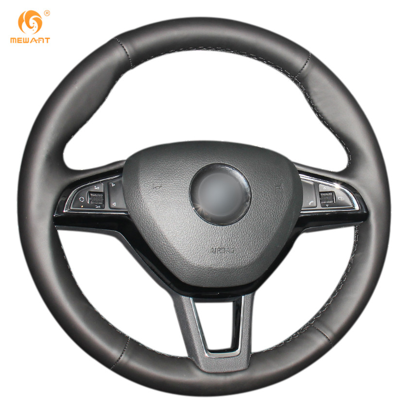 MEWANT Black Genuine Leather Steering Wheel Cover for Skoda Octavia 2017 Fabia 2016 2017 Rapid Spaceback 2016 Superb (3-Spoke)