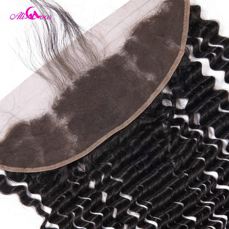 Али Коко глубокая волна Кружева Фронтальная с волосами младенца 13X4 ушные Волосы Кружева Фронтальная Закрытие 100% человеческие волосы переплетения не реми волосы